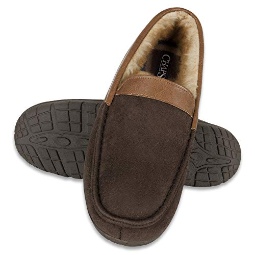 Chaps Men's Slipper House Shoe Moccasin Memory Foam Micro Suede Indoor Outdoor Nonslip Sole Construction, Brown Venetian, Medium (8-9) Standard US Width US