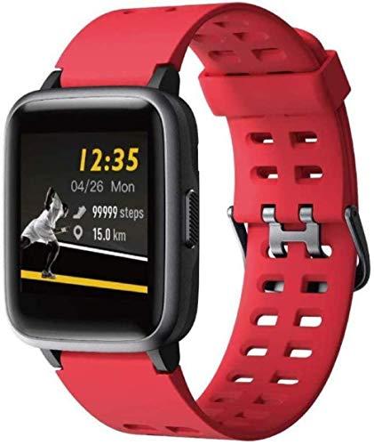 Fitness trackers Smart Band Fitness watch Android Ios wasserdicht Fitnessuhr und Schrittzähler Smartwatch Para hombres y mujeres-Rojo