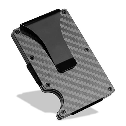 Cartera Tarjetero Cartera Minimalista Hombre, Aluminum con Clip de Dinero metálico - NFC RFID Que bloquea el Monedero Delgado de Metal