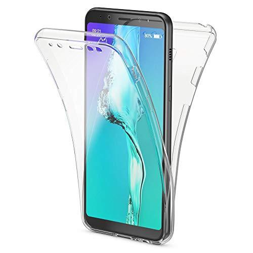 NALIA 360 Grad Hülle kompatibel mit Samsung Galaxy A8 (2018), Full Cover Handyhülle vorne und hinten Schutz, Ganzkörper Hülle Silikon Etui Dünn Transparenter Bildschirmschutz und Rückseite, Farbe:Transparent
