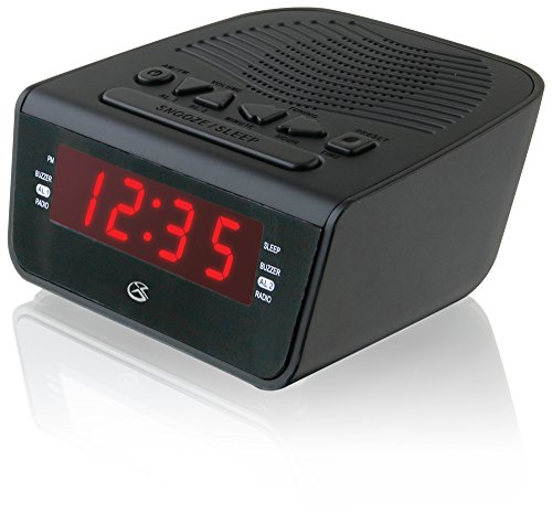 GPX C224B Dual Alarm Clock AM/FM Radio with Red LED Display (Black)