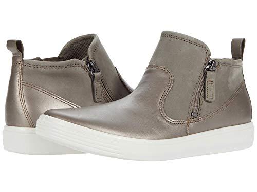 ECCO Women's Soft Classic Bootie Sneaker, Stone Metallic/Warm Grey Suede, 4 M US