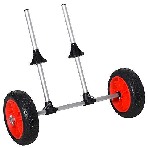 Soozier Universal Kayak Cart Trolley Trailer with Strong Aluminum Frame, Adjustable Width Crossbar, & Large Tires