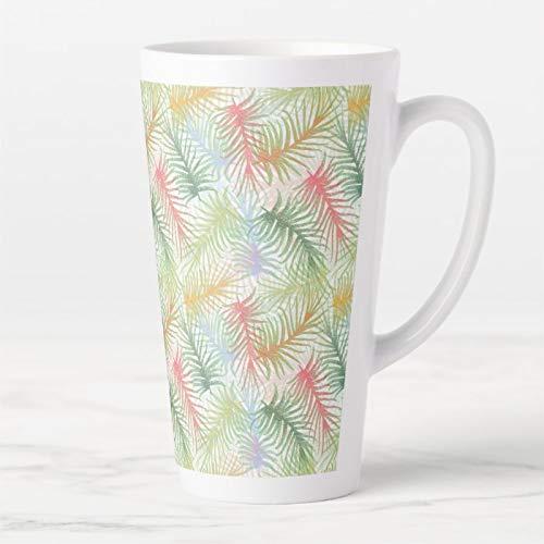 Taza de café de cerámica con tapa y cuchara, diseño de hojas de helecho en blanco