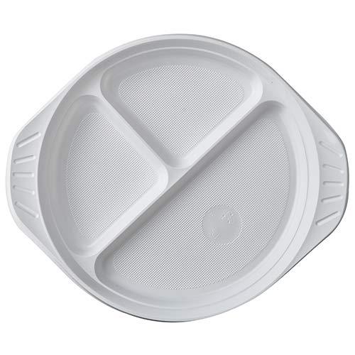 PAPSTAR 100 Menü-Teller, PP 3-geteilt Ø 21,9 cm · 2,6 cm Weiss mit Anfasser, Sie erhalten 4 Packungen á 100 Stück (insgesamt 400 Stück)