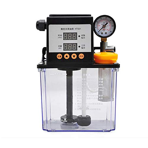 Isunking 220V Automatische Schmierpumpe CNC Maschine Elektromagnetische Pumpe Drehmaschine Elektrische Ölpumpe 1L mit Manometer (Mit Manometer)