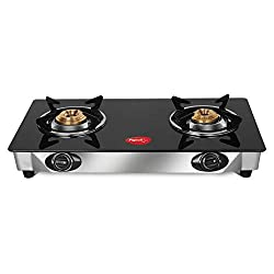 Pigeon By Stovekraft Backline Smart 2 Burner Gas Stove, Black