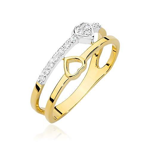 Anillo para mujer de oro amarillo 585 de 14 quilates con forma de corazón natural y diamantes brillantes