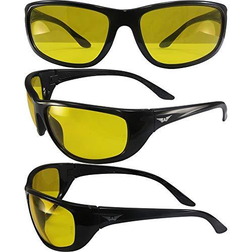 Visión Global Hercules 6marcos de seguridad gafas de sol Negro brillante lentes de amarillo ANSI z87.1+