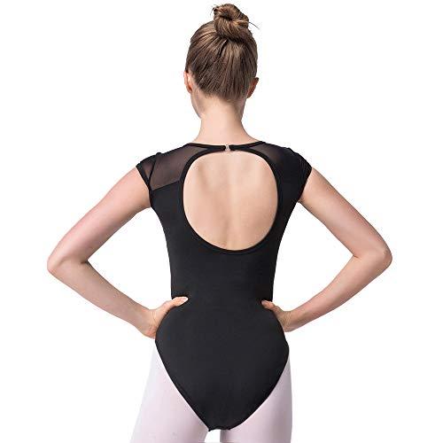Bezioner Ballett Trikot Turnanzug Rückenfrei Gymnastikanzug Mesh Tanzbody Tanztrikot für Mädchen und Damen Schwarz L