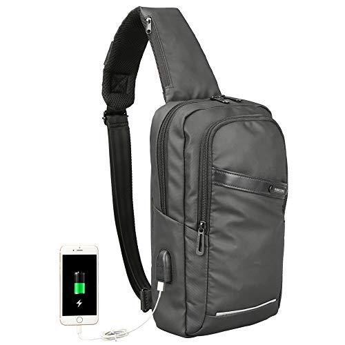 Men Sling Bag Crossbody Sling Backpack for Men Waterproof Travel Hiking Chest Bag With USB Shoulder Bags Causal Daypack