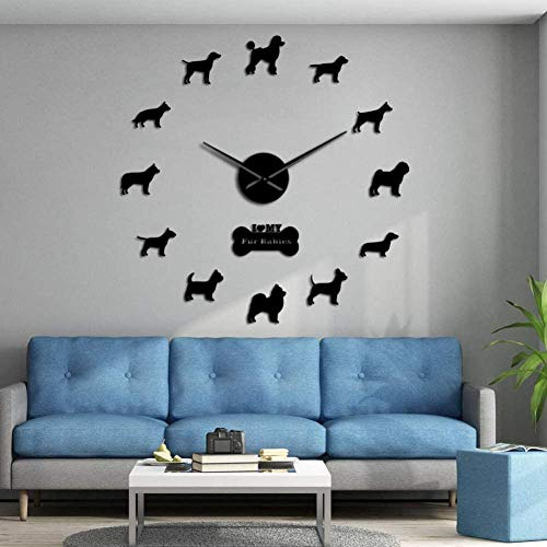 3D DIY Wanduhr beliebte Hunderasse DIY Riesenwanduhr Welpe Heimdekoration Wohnzimmer Schlafzimmer Kinderzimmer Dekoration Wohnzimmer Schlafzimmer Dekoration 37inch