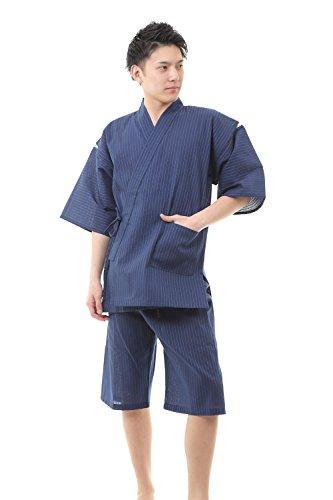 [江戸てん] 刺子甚平 糸・縫製・染色全て日本製 メンズ よろけ調刺子 紺 6001NV LL