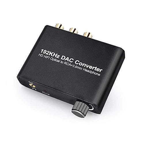 SOUTHSKY 192KHz DAC,HiFi Convertitore,Decodificatore 5.1CH, Digitale a Analogico, Coassiale Ottico a L+R Cinch, Cuffie da 3,5 mm, Audio Stereo, supporto Dolby AC-3 / DTS per HDTV, PS4, DVD