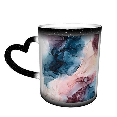 Taza de café mágica que cambia de color, color azul oscuro, rubor y oro, diseño abstracto personalizado, de cerámica, sensible al calor, taza de café con leche, regalo de cumpleaños