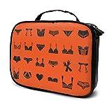 Bolsa de almacenamiento portátil para cosméticos, brochas de maquillaje, accesorios digitales, diferentes sujetadores, ropa interior, guantes, color naranja