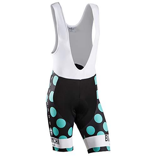 Nalini Bianchi Victory - Pantalones Cortos de Ciclismo para Hombre, diseño de Lunares, Color Negro y Azul