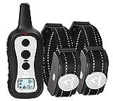 PATPET Dog Training Collar Set - 2 Electric Dog Collars with Remote for Small, Medium & Large Breeds - Adjustable Shock, Vibration & Beep Modes - Safe Humane Dog Bark Collar Trainer - 984 ft Range