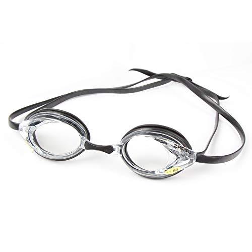 ZAOSU Optische Schwimmbrille mit Sehstärke zur Korrektur von Kurzsichtigkeit | Inklusive Anti-Fog Beschichtung und Aufbewahrungsbox, Sehstärke:-1.5, Farbe:klar