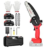 Mini Chainsaw Cordless , Seesii 6-Inch Battery Powered Chainsaw, Pruning Saw for Garden Bush Tree Branch Pruning Shears Wood Cutting (2Pcs Batteries & 3Pcs Chain )