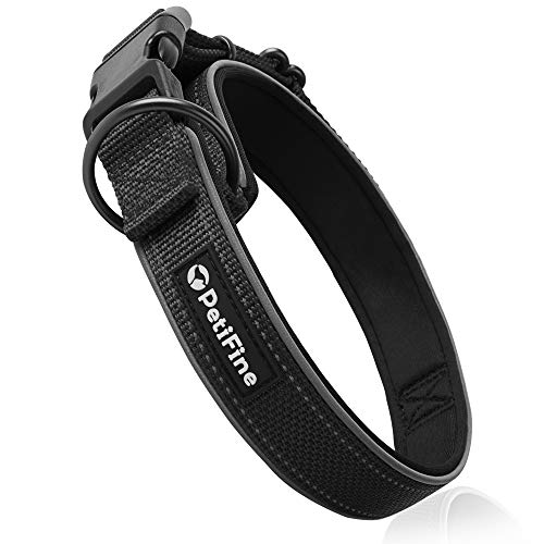 PetiFine Reflective Dog Collar with Ultra Soft Neoprene Padded, Adjustable Nylon Pet Collar for Small Medium Large X-Large Dogs(L, Black)
