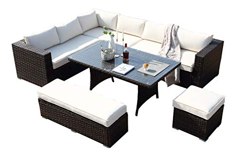 Ecosunny Rattan Garden Furniture Andrew 9 seaters Convertible Corner Sofa (288cm x 225cm x 81cm) Dining Table Set with Bench, Stool and Raincover, Flat pack-Mixed Brown Rattan and Cream Cushion