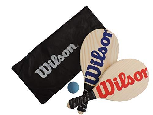 Kit Frescobol Wilson 2 Raquetes + 1 Bola Original - Azul com Vermelho