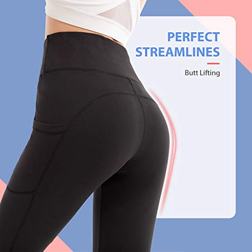 SINOPHANT Yoga Pants with Pockets,Tummy Control, Gym Sports Workout Running Trousers, High Waisted Leggings for Women Black