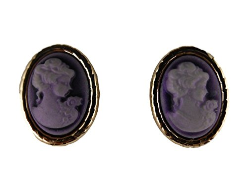 Ausgefallene Stecker Ohrringe Gemme Kamee Kunststoff lila Statement 6439