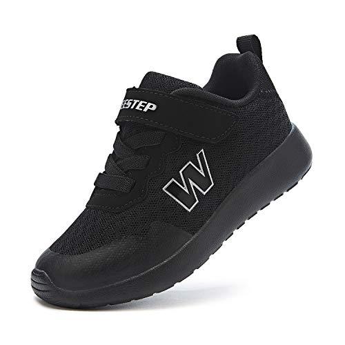 Weestep Little Kid Boys and Girls Lightweight Hook and Loop Running Sneaker, Black2, 13 Little Kid