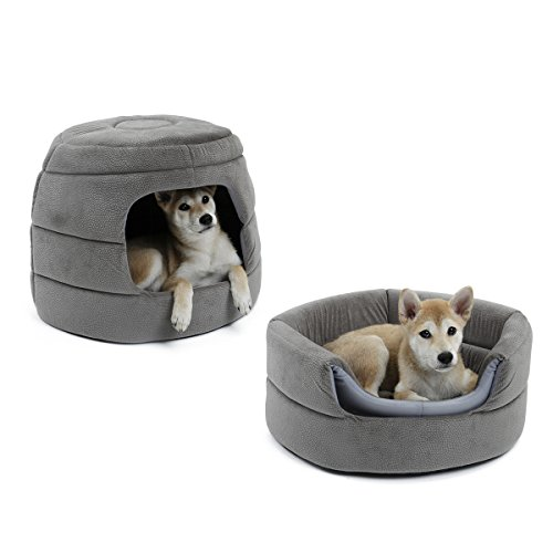 Speedy Pet 2 in 1 Dog House Bed And Dog Sofa Bed Skidproof With Detachable Cushion Washable Dog Igloo Bed Soft Basket Cave Bed for Dog and Cat Nesting Grey
