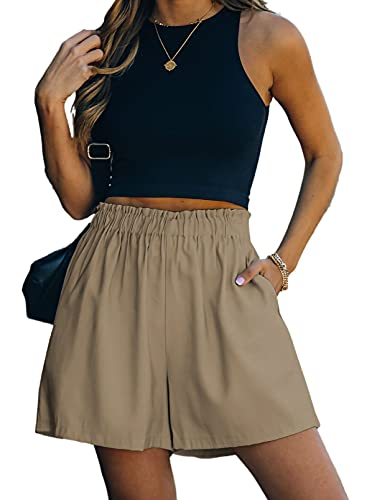 Sidefeel Womens Ladies Comfy Pure Color Elastic Waist Solid High Waist Above Knee Ladies Shorts with Side Pockets Khaki Small