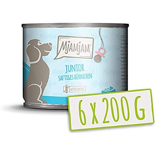 MjAMjAM Mangime Umido per Cuccioli, Pasto per Cuccioli di Cane, Pollo e Uovo, Genuino - Pacco da 6 x 200 g