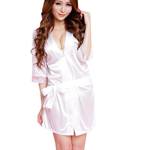 858 Nachthemden für Damen Morgenmantel Kimono Satin Lang Ärmeln Bademantel V Ausschnitt Negligee mit Gürtel