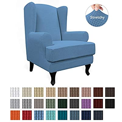 Easy-Going Stretch Wingback Chair Sofa Slipcover 2-Piece Sofa Cover Furniture Protector Couch Soft with Elastic Bottom, Spandex Jacquard Fabric Small Checks, Light Blue