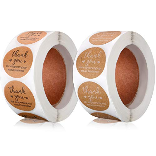 2 Rolls Thank You for Supporting My Small Business Sticker Labels, Thank You Round Kraft Labels for Bakeries Crafter Small Business Owners, 500 Labels Per Roll (1.5 Inch)