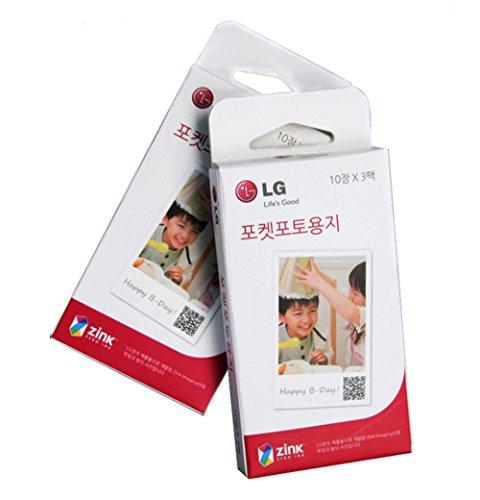 LG Electronics Pocket Photo Paper for Pocket Photo Printer, 30 Sheets, 2x3