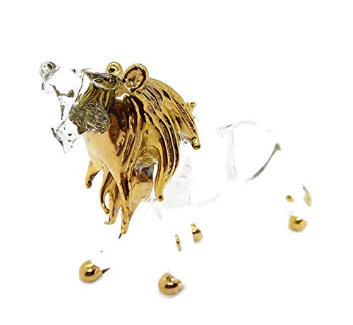 Lion Clear Hand Blown Blowing Glass Art Wild Animal Fancy Collectibles Decor 3