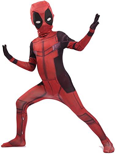 NVHAIM Kids Deadpool Stretch Body, Cos Adultos Tallas de Wade Tightsuits, Diseño de la máscara de los Ojos Diseño Tres Dimensional Contorno Headgear Halloween Carnival Traje,Red-Kids XL