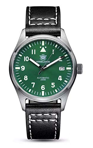 Steeldive SD1940 reloj piloto Mark XVIII Flieger, NH35, Zafiro, Verde, Lume, 200 m Diver, BNIB