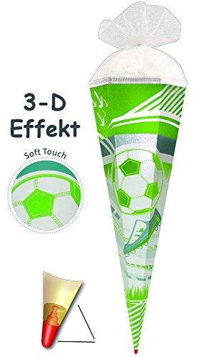 alles-meine.de GmbH 3-D Effekt - Flock _ ! - Schultüte -  Fußball & Fußballschuhe / Soft Touch - Flockdruck  - 70 cm - rund - Filzdruck / Rüschenborte & Filz Abschluß - Zuckert..