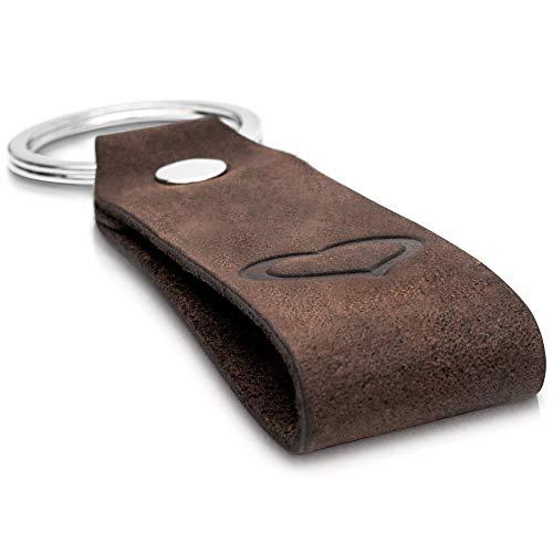 CoinKeeper® Schlüsselanhänger aus exklusiv Echt-Leder mit Gravur Herz Geschenk für Frauen Männer Geburtstag Schlüsselband mit Geschenkbox