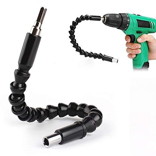 Extensor flexible para broca y taladro con conector universal de 300mm, plástico negro flexible y partes metálicas con conector hexagonal