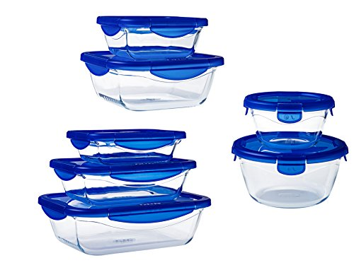 Pyrex Cook & Go Set of glass food storage container with airtight and leakproof 4 clip locking lid – oven, freezer and microwave safe - 7 units, 912S994/7041