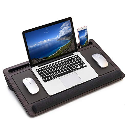 HLead Laptop Lap Desk Home Office Portable Laptop Desk for Left Right - Handers with Built in Mouse Pad Wrist Pad Dual Cushion Phone Tablet Slots Fits Up to 17 Inch Laptops