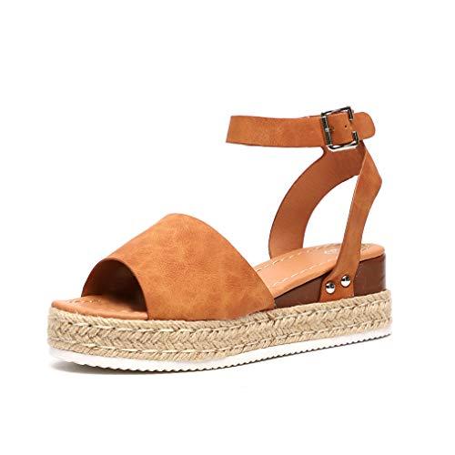 Sandalias Mujer Plataformas Alpargatas Cuña Verano Hebilla Zapatos Playa Punta Abierta Tacon 5.5cm Correa de Tobillo Negro Marrón Gris Leopardo EU35-EU43