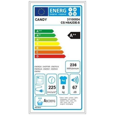 Asciugatrice Candy 8 kg CS H8A2DE-S