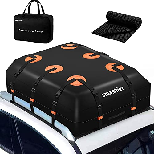Smashier Car Rooftop-Cargo-Carrier Bag - 16 Cubic Feet Roof-Bag with 100% Waterproof Military Grade...