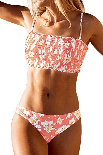 CUPSHE Damen Bikini Set Blumenmuster Bandeau Gesmokte Bademode Zweiteiliger Badeanzug Rosa L