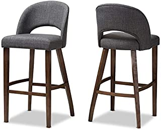 "Baxton Studio Melrose 31"" Upholstered Bar Stool in Gray (Set of 2)"